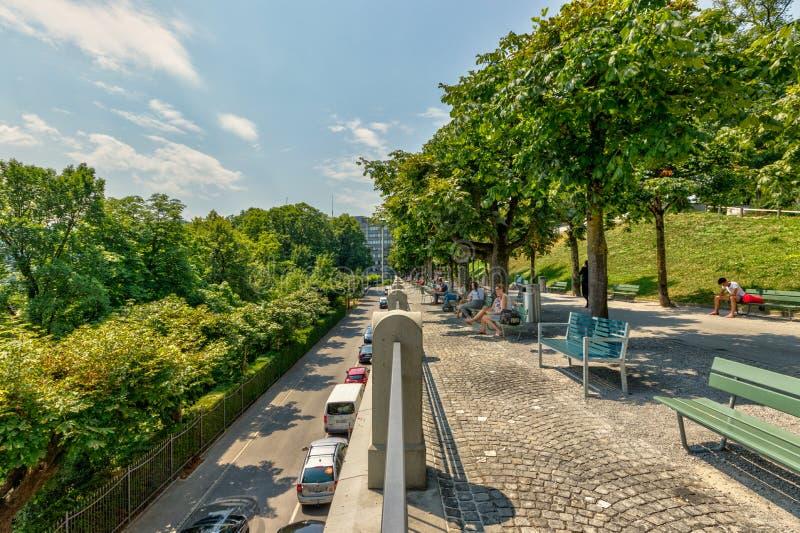Bern, Switzerland - July 26, 2019: Panoramic view at sunny summer day. Kleine Schanze city Park stock photos