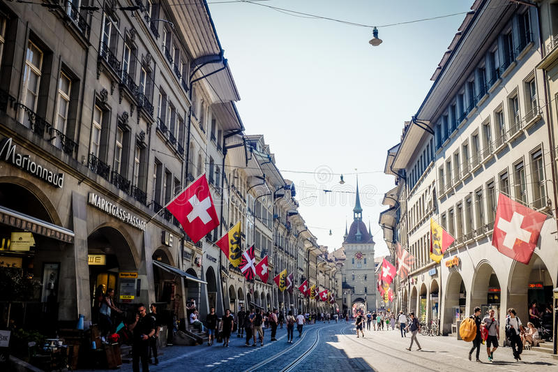 BERN, SWITZERLAND - MAY 26, 2017: A beautiful shopping street at the medieval city of Bern. stock images