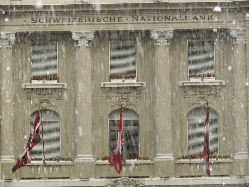 Bern, Szwajcaria 08/02/2009 Fasada National Bank obrazy royalty free