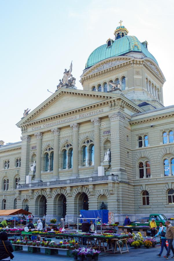 Bern Szwajcaria, Październik, - 17, 2017: Federacyjny pałac 1902, obrazy royalty free
