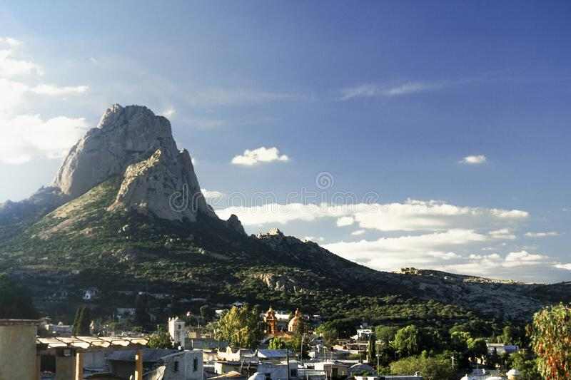 Bernal town and monolith in the state of Queretaro stock photos