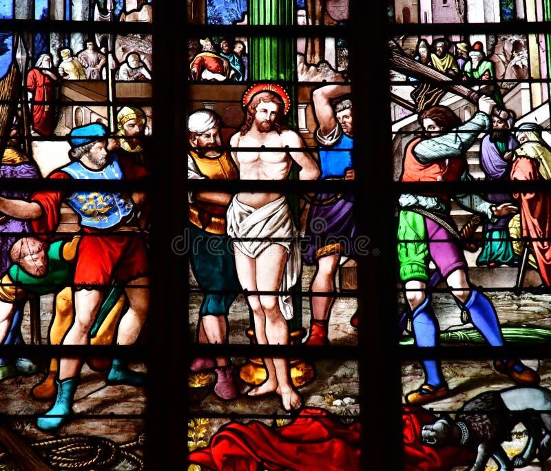 Bernay, Francja - august 11 2016: Sainte Croix kościół zdjęcie stock