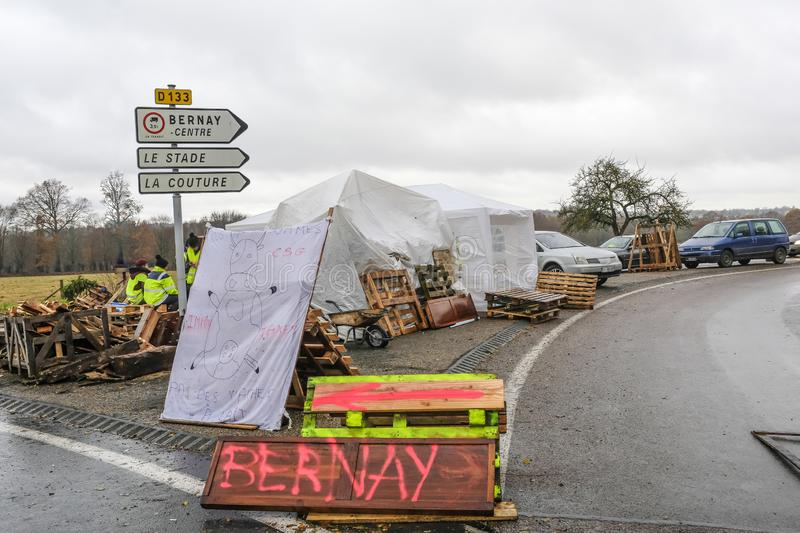 Bernay, Normandy, France France - November 25, 2018 : Demonstrators called yellow vests during a demonstration against the stock photography