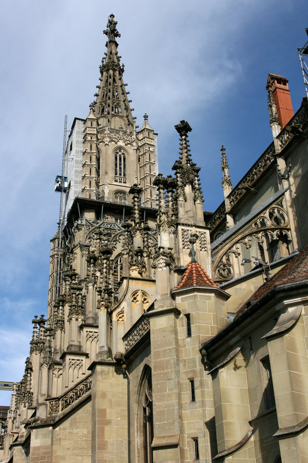 Berne cathedral. The Muenster of Berne (German: Berner Muenster) is the Gothic cathedral (or minster) in the old city of Berne, Switzerland stock photography