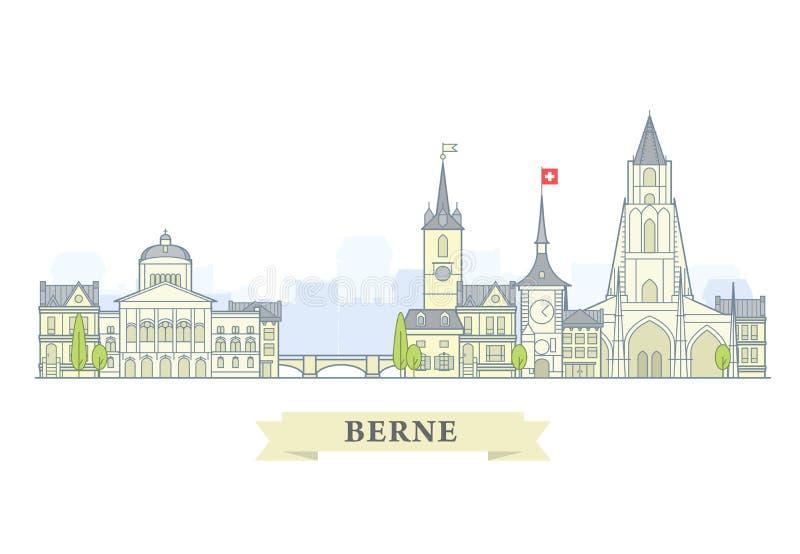 Berne, Szwajcaria - stary miasteczko, panorama z punktami zwrotnymi Berne miasto ilustracja wektor