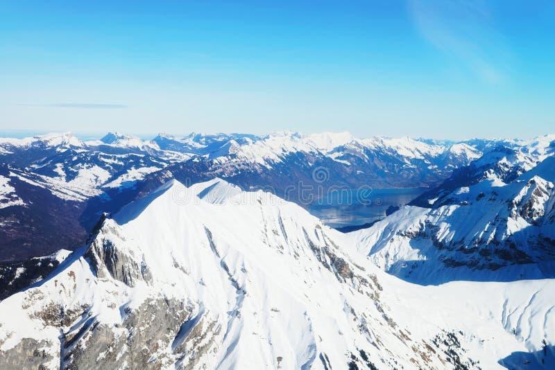 Bernese Apline town of Interlaken winter Swiss Alps Brienz Lake stock image
