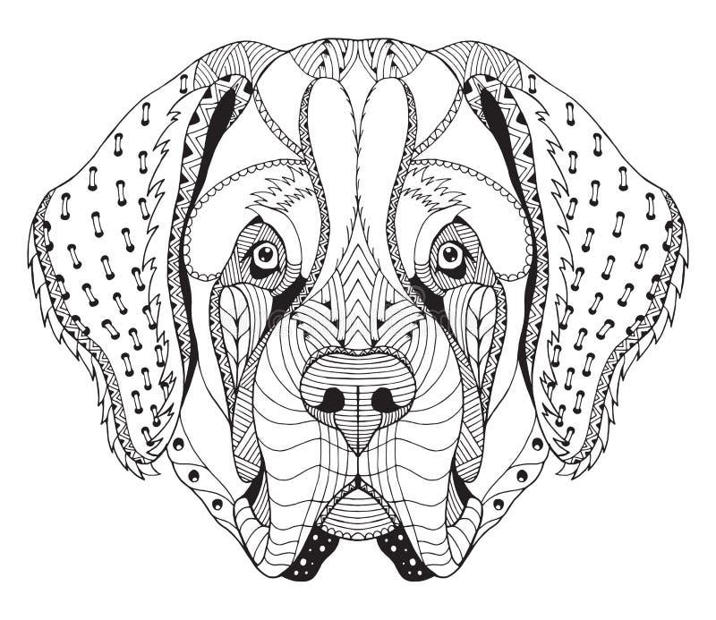 Bernhardiner-Hund-zentangle stilisierte Haupt-, freihändigen Bleistift, Hand stock abbildung