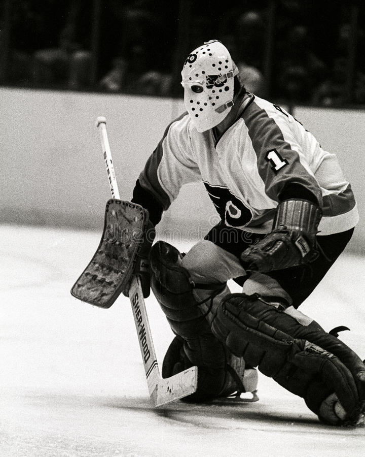 Bernie Parent Philadelphia Flyers goalie. Former Philadelphia Flyers Hall of Fame Goalie Bernie Parent. (Image taken from b&w negative royalty free stock photos
