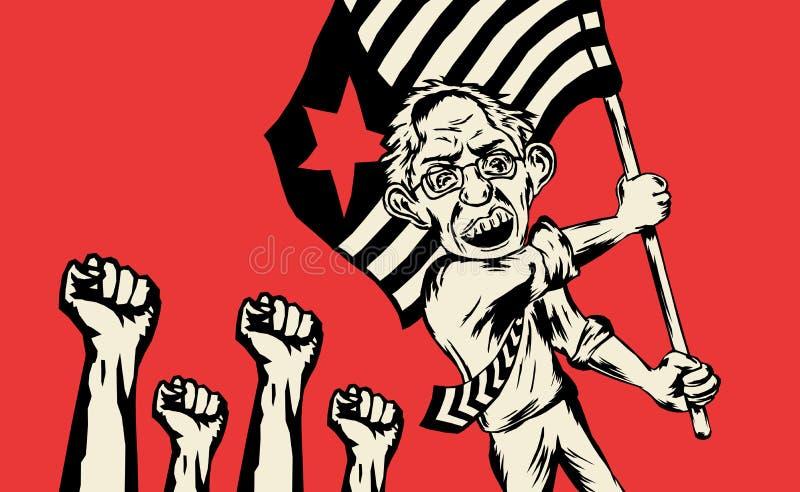 Bernie Sanders alcanza ilustración del vector