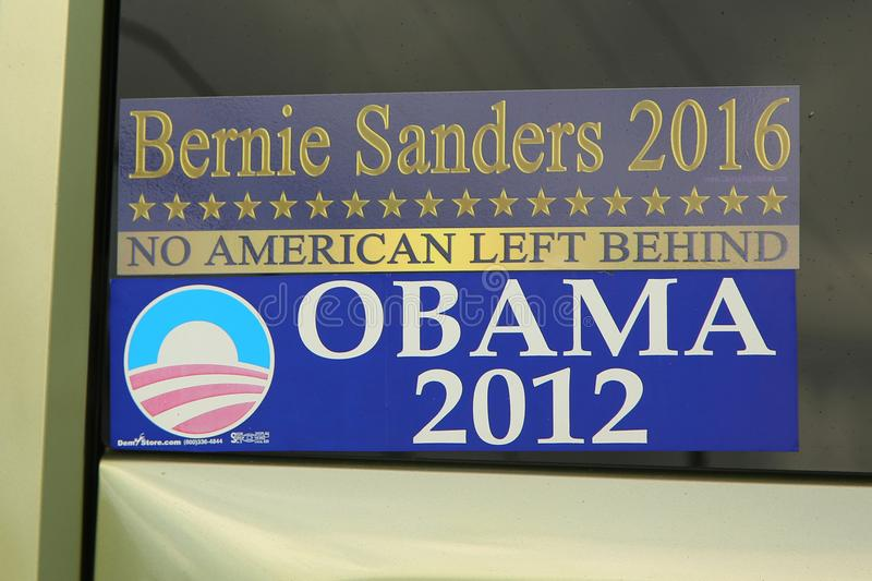 Bernie Sanders 2016 Obama 2012 presidential election bumper sticker stock photography