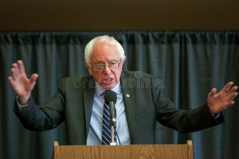 Bernie Sanders. Oskaloosa, Iowa - October 19, 2015: Bernie Sanders town hall forum. Politician from Vermont running for The President of the United States stock photography