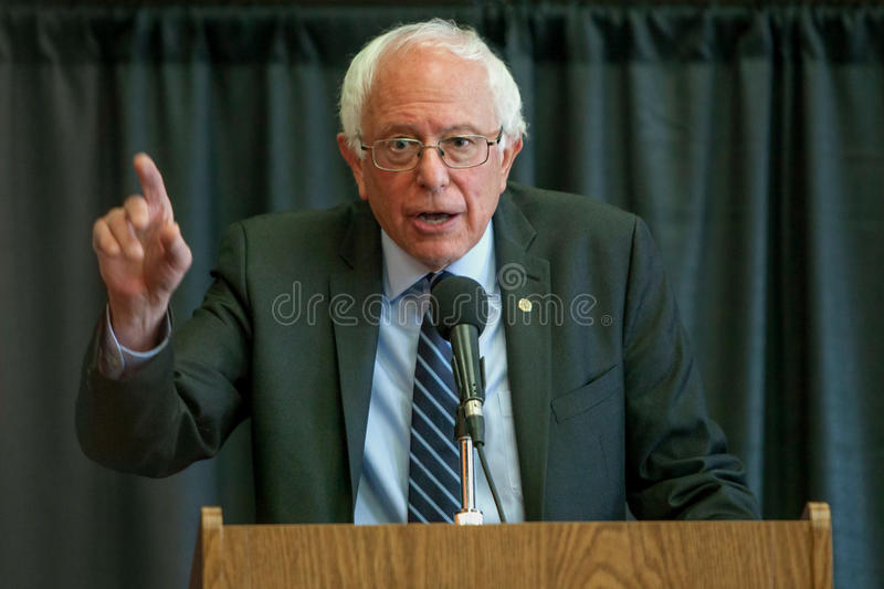 Bernie Sanders. Oskaloosa, Iowa - October 19, 2015: Bernie Sanders town hall forum. Politician from Vermont running for The President of the United States royalty free stock images