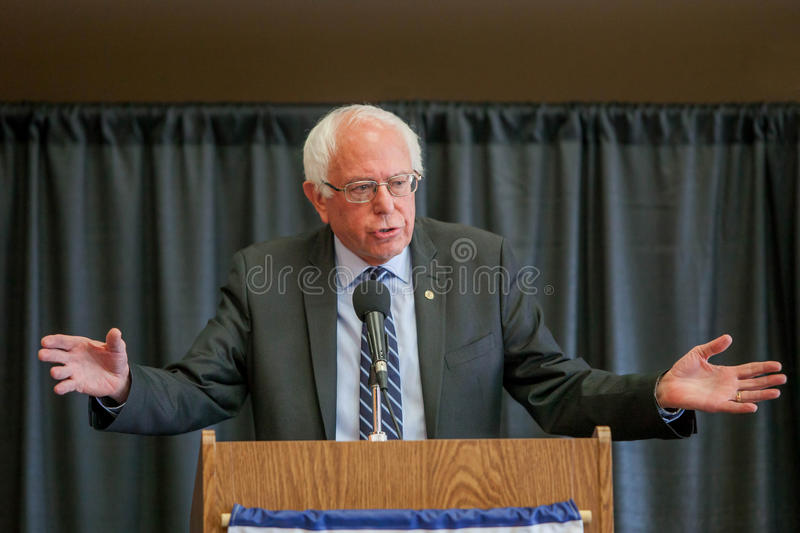 Bernie Sanders. Oskaloosa, Iowa - October 19, 2015: Bernie Sanders town hall forum. Politician from Vermont running for The President of the United States stock photos