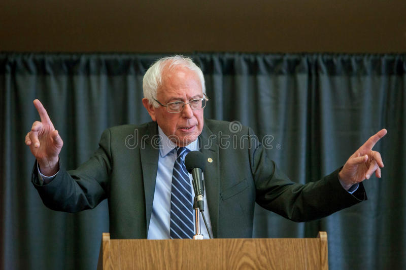 Bernie Sanders. Oskaloosa, Iowa - October 19, 2015: Bernie Sanders town hall forum. Politician from Vermont running for The President of the United States royalty free stock image