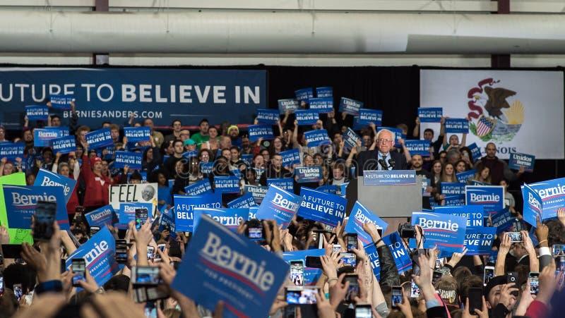 Bernie Sanders wiec w Illinois fotografia royalty free