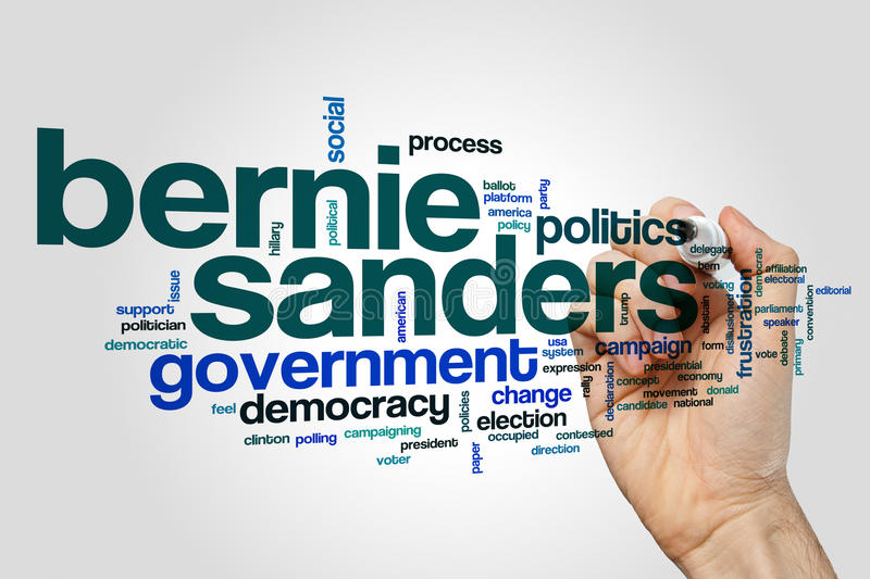 Bernie Sanders word cloud concept on grey background.  royalty free stock photos