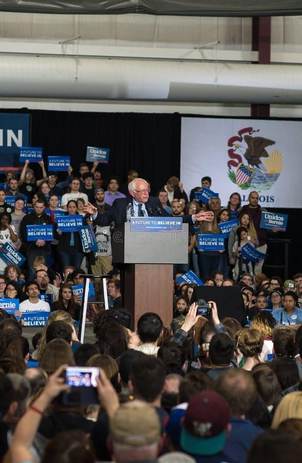 Bernies Sanders wiec w Illinois obrazy royalty free