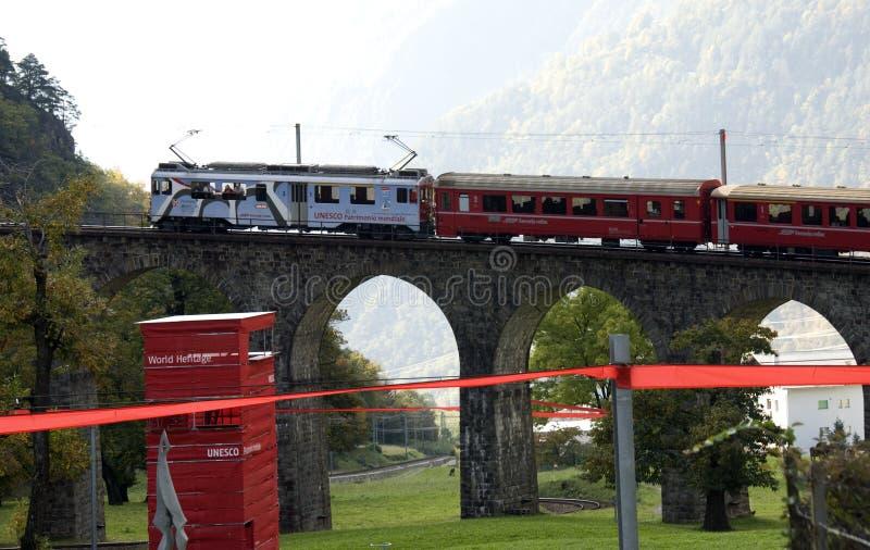 Bernina espresso - patrimonio mondiale dell'Unesco fotografia stock libera da diritti