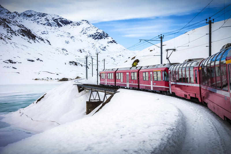 Bernina Express, railway between Italy and Switzerland stock photography