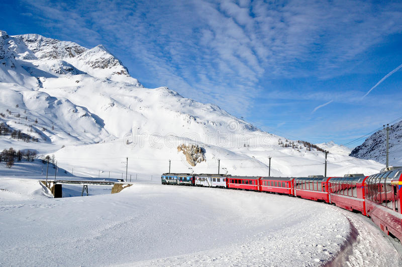 Download Bernina Express In Winter Time Editorial Stock Image - Image: 19020934