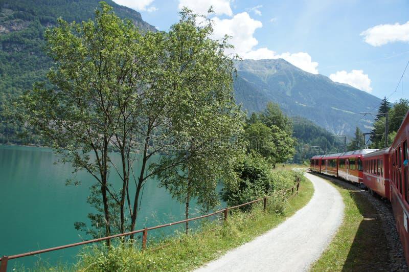 Bernina expresso em um lago foto de stock royalty free