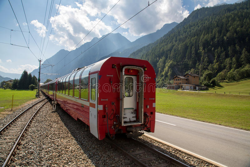 Bernina Railway. The Bernina railway is part of the Rhaetian Railway RhB. It links St. Moritz, in the Canton of Graubünden, Switzerland, with the town of royalty free stock photos