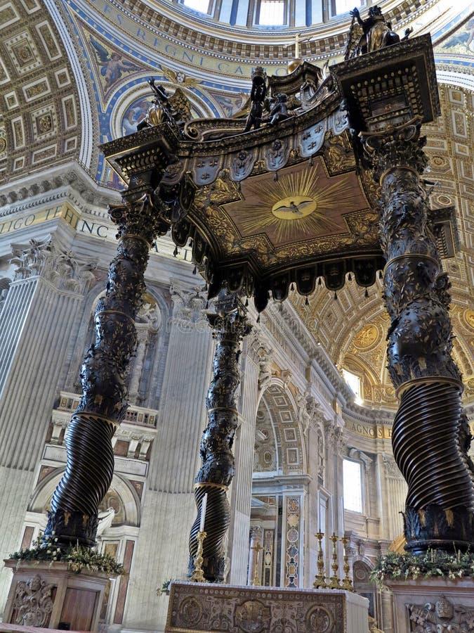 Bernini's Baldacchino. At St. Peter's Basilica stock photo