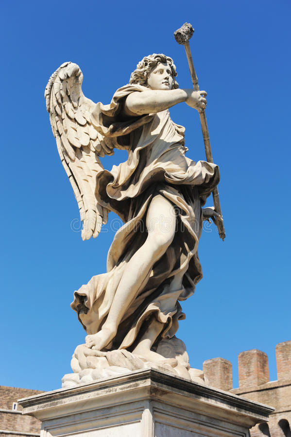 Bernini angel in Rome. Bernini angel on the castel of Sant Angelo in Rome stock photos