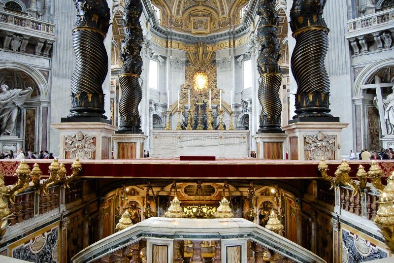 Bernini`s Baldacchino Altar - Saint Peter`s Basilica - Vatican City. Bernini`s Baldacchino Altar in Saint Peter`s Basilica - Vatican City stock photo