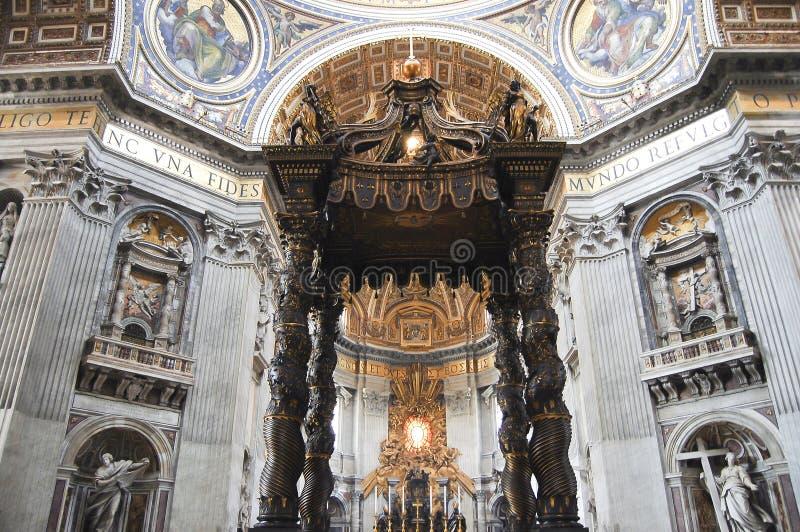 Bernini`s Baldacchino Altar - Saint Peter`s Basilica - Vatican City. Bernini`s Baldacchino Altar in Saint Peter`s Basilica - Vatican City stock photography