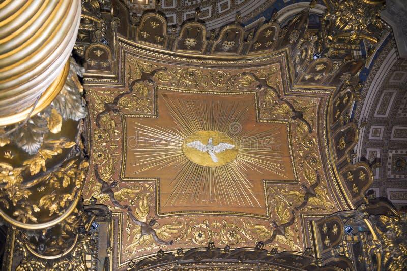 Bernini's baldacchino, inside Saint Peter's Basilica, Vatican. Vatican,Italy-April 04,2014: Bernini's baldacchino, inside Saint Peter's Basilica stock photo