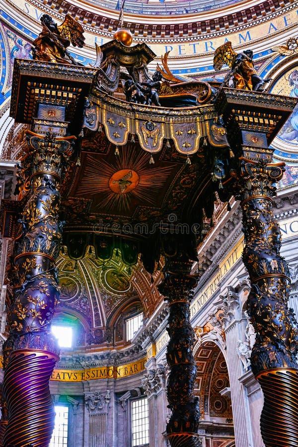 Bernini's Baldacchino in Saint Peter Basilica. Rome stock photos