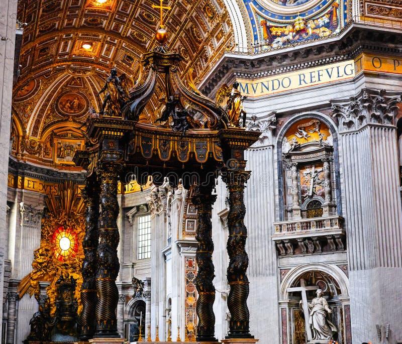 Bernini's Baldacchino in Saint Peter Basilica. Vatican royalty free stock photography