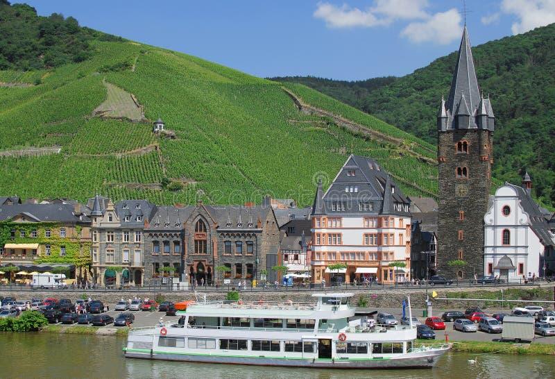 Bernkastel-Kues,River Mosel,Germany. Village of Bernkastel-Kues on river mosel,surrounded by vineyards,germany royalty free stock photos