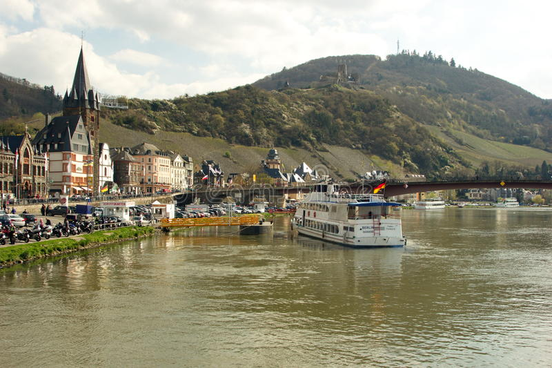 Bernkastel-Kues on the river Mosel. View of Bernkastel-Kues on Mosel river, Germany on a sunny day stock photography
