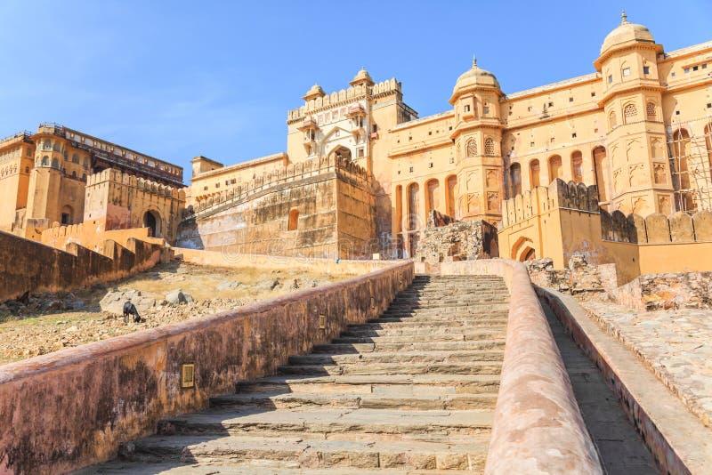 Bernsteinfarbiges Fort in Jaipur stockfotografie
