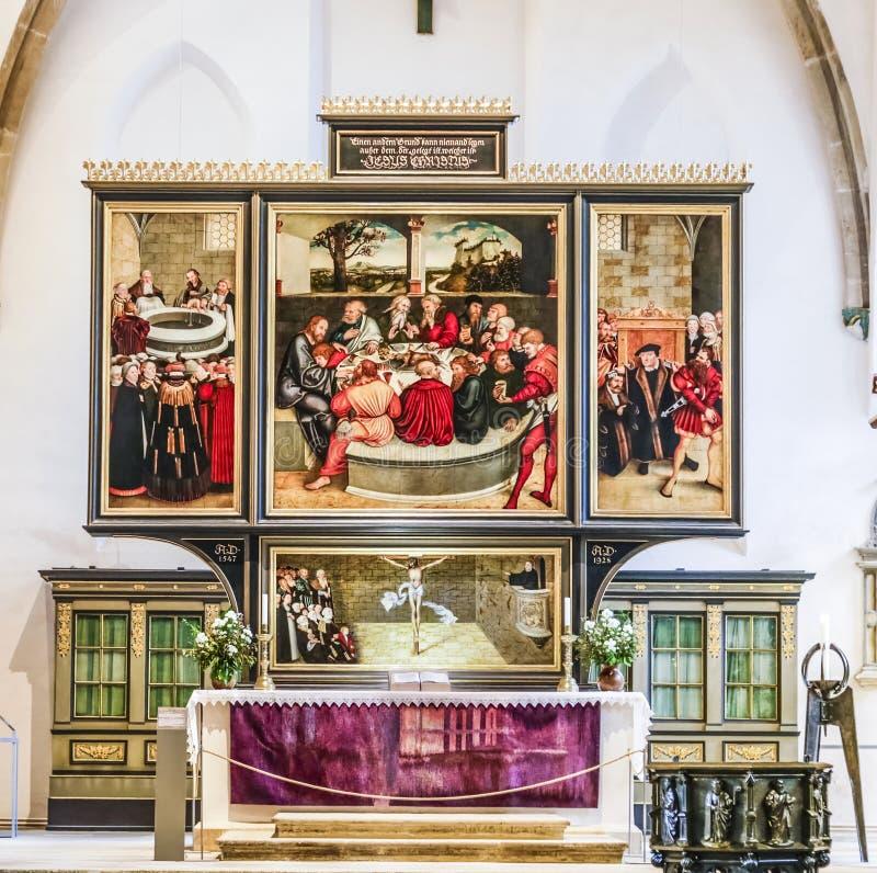 Beroemd altaar van Lucas Cranach in de burgerkerk in Wittenber stock afbeelding