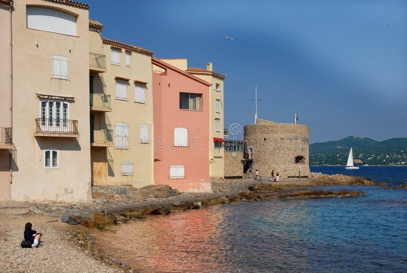 Beroemd dorp Heilige Tropez in Frankrijk royalty-vrije stock foto's