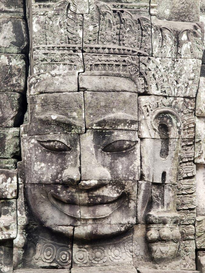 Beroemd gezicht van Tempel Bayon stock fotografie