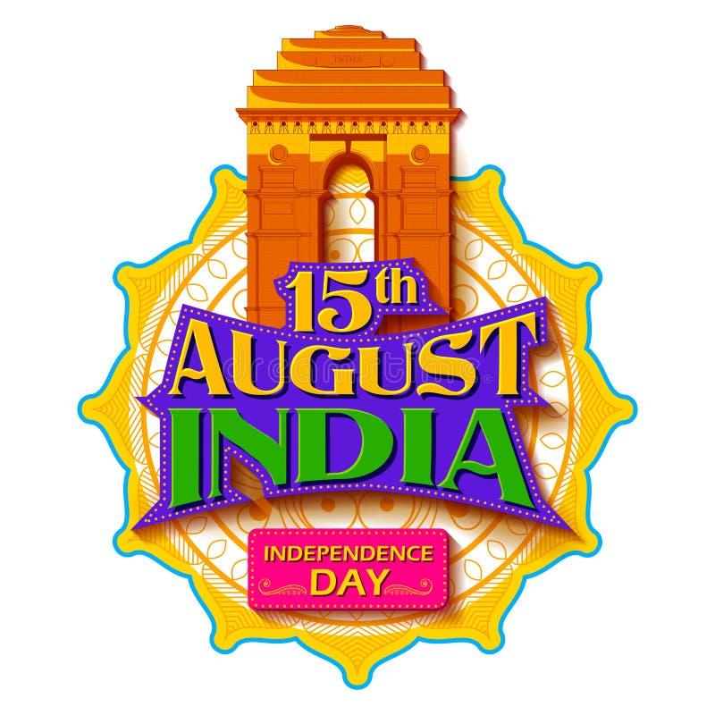 Beroemd Indisch monument en Ori?ntatiepunt voor Gelukkige Onafhankelijkheidsdag van India royalty-vrije illustratie