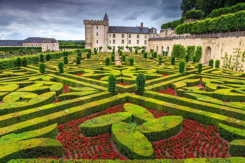 Beroemd kasteel van Villandry, de Loire-Vallei, Frankrijk, Europa stock foto's