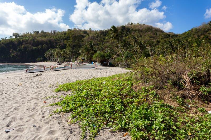 Beroemd Kristalstrand bij het eiland van Nusa Penida stock foto's