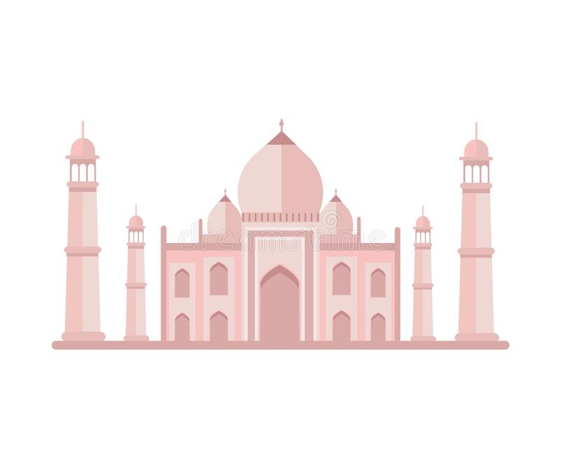 Beroemd Luxueus Taj Mahal Building met Torens vector illustratie
