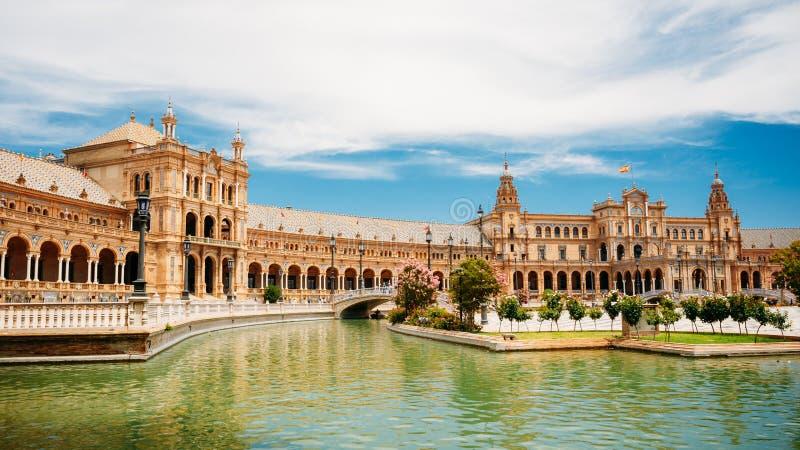Beroemd oriëntatiepunt - Plaza DE Espana in Sevilla, Andalusia, Spanje stock afbeelding