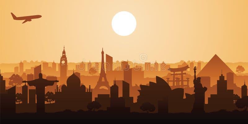 Beroemd oriëntatiepunt van de wereld, silhouetontwerp, vectorillustrati stock illustratie