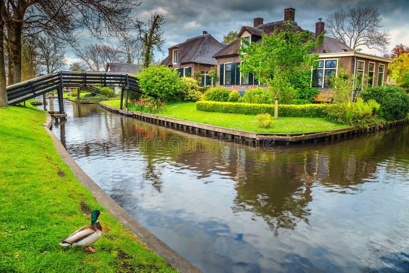 Beroemd oud Nederlands dorp met met stro bedekte daken, Giethoorn, Nederland, Europa stock foto