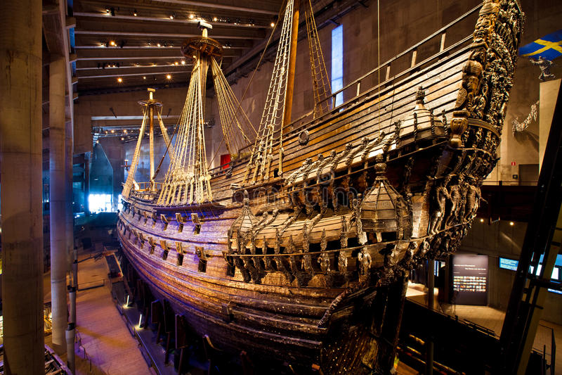 Beroemd oud opnieuw opgebouwd vasa schip in Stockholm, Zweden royalty-vrije stock afbeelding