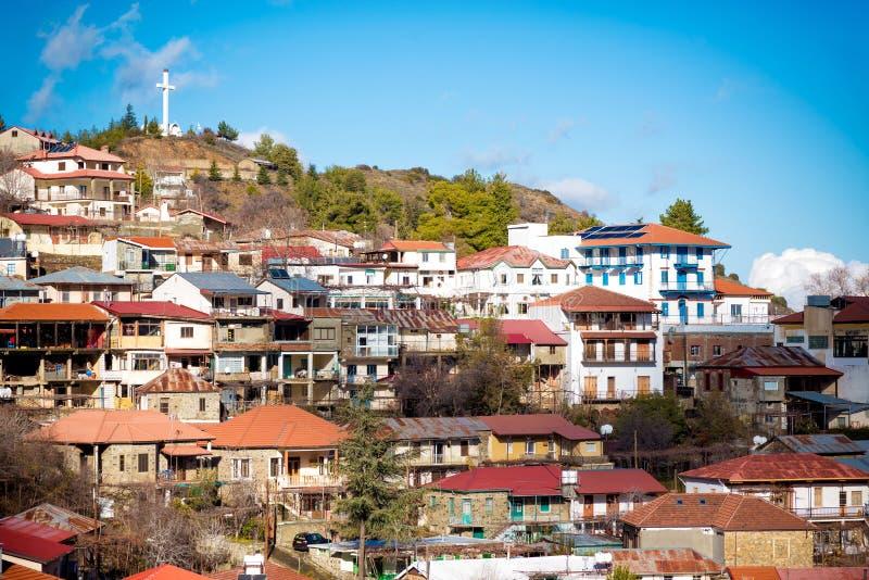 Beroemd schilderachtig bergdorp van Pedoulas Nicosia Distric royalty-vrije stock afbeelding