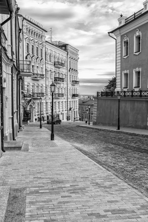 Beroemd St Andrew historisch district van Kiev stock afbeelding