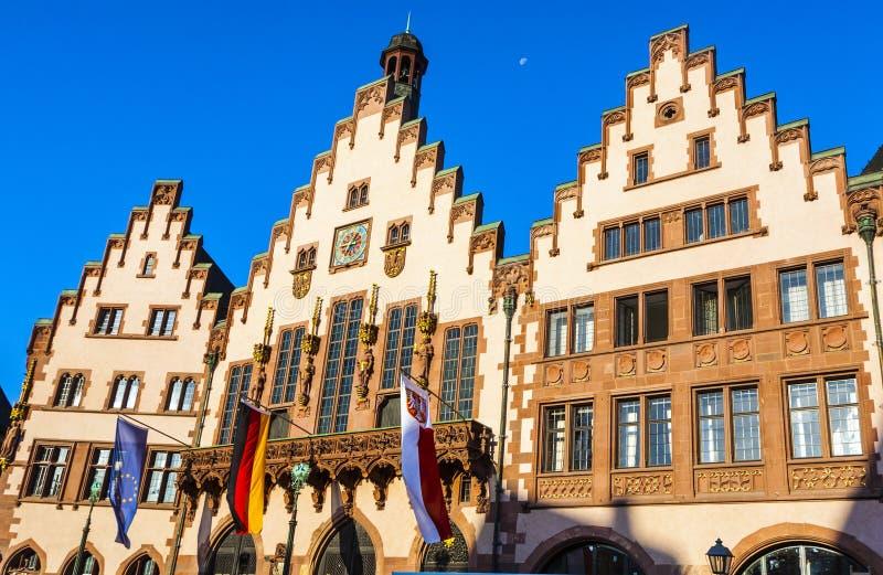 Beroemd stadhuis op de centrale plaats in Frankfurt, Roemer royalty-vrije stock foto's